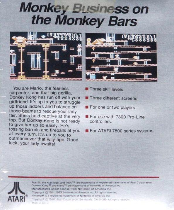Atari 7800 Donkey Kong publicité